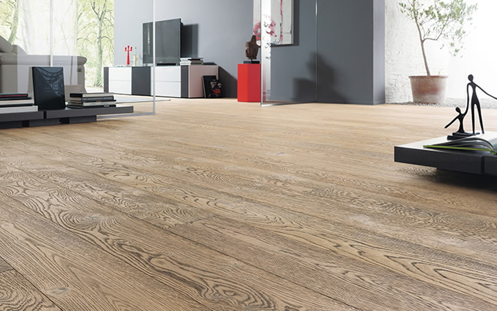 Hamptons Haro 4000 Plank Oak Tobacco Grey 4V Retro Brushed Naturalin Engineered Flooring